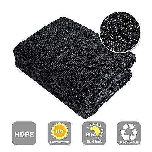 Shatex 90% Sun Shade Fabric for Pergola Cover Porch Vertical Screen, 8x12ft Black