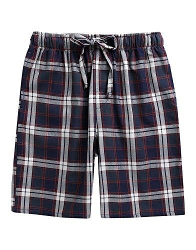 TINFL Men's Plaid Check Cotton Lounge Sleep Shorts MSP-SB007-Navy XL ()