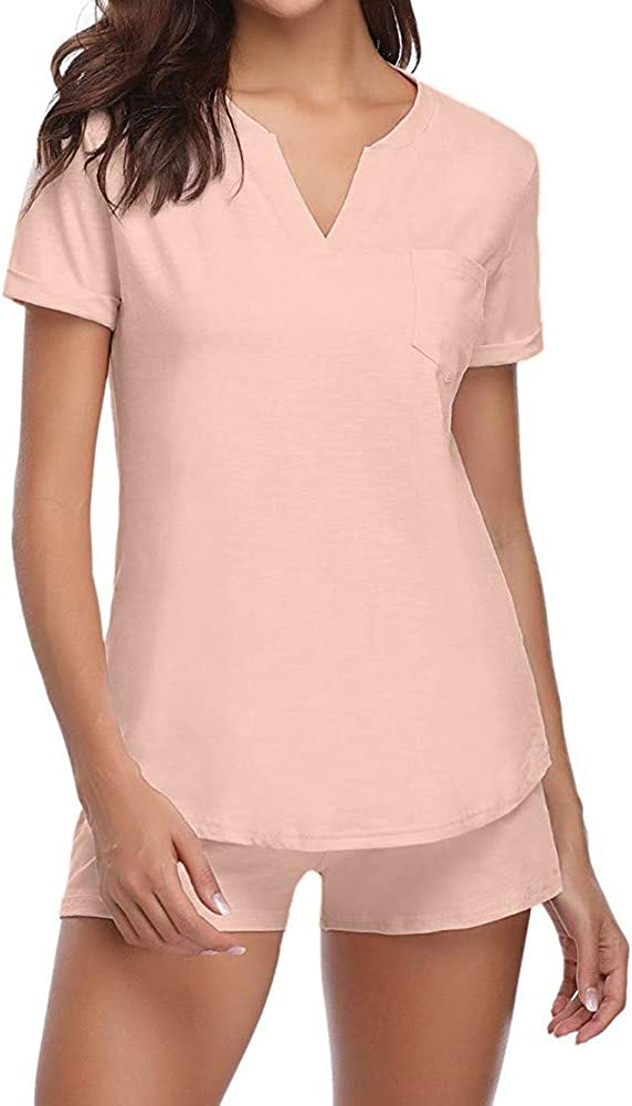 NREALY PJ Womens Pajama Set Short Sleeve Sleepwear Sets Bamboo Tank and Shorts Set(XL, Pink)