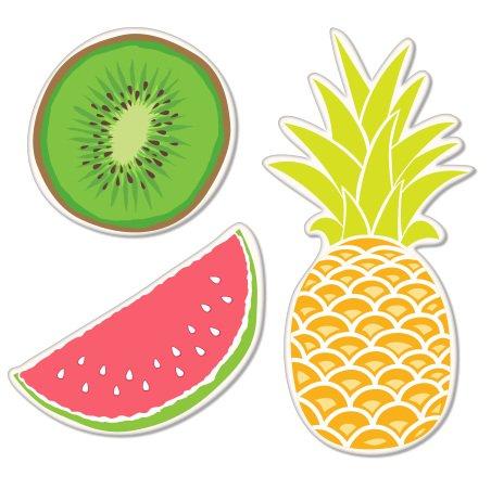 Fruits Set of 3 Pineapple Watermelon Kiwi Juicy Vinyl Sticker - Car Phone Helmet - SELECT -