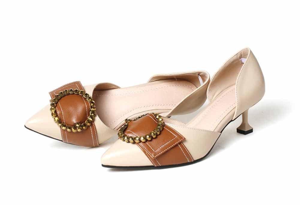 Onfly New Frauen Wies Mode Sandalen Leder Metall Dekorative Strass High Heels Komfortable DOrsay eu size  35|Beige