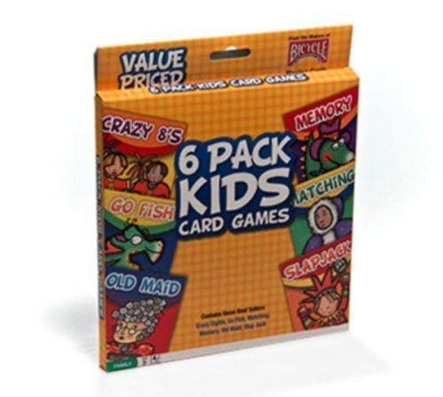 Bicycle 6 Pack Kids Playing Cards Games Go Fish Crazy 8's Old Maid Slapjack New (Fish For Kids)