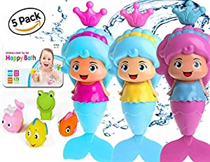 OML Cali Bath Toys for Girls | Mermaid and Squirt Sea Animals - 5 Pack - Swimming Mermaid Wind Up and Friends | Fish Frog Bath time Toy for Baby & Toddler | Original Pack