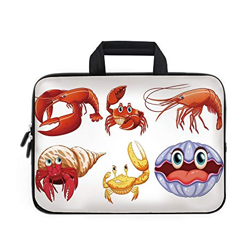 (Crabs Decor Laptop Carrying Bag Sleeve,Neoprene Sleeve Case/Illustration of Sea Animals like Crab Hermit Crab Lobster Shell Shrimp Print/for Apple Macbook Air Samsung Google Acer HP DELL Lenovo AsusOr)