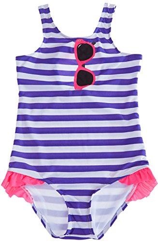 BeautyIn Little Girls' Stripe One piece Swimsuit Cute Bownot Bathing Suit