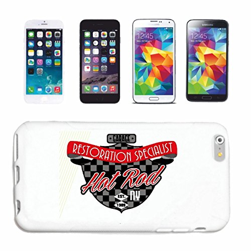 "cas de téléphone iPhone 7S ""HOTROD RESTAURATION SPÉCIALISTE HOT ROD CAR US Mucle CAR V8 ROUTE 66 USA AMÉRIQUE"" Hard Case Cover Téléphone Covers Smart Cover pour Apple iPhone en blanc"