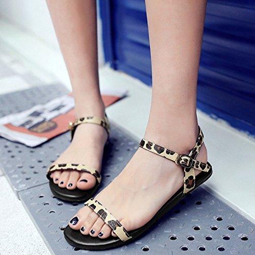 Open Sandals Yellow Women Flat Leopard Strap Fashion TAOFFEN Toe qx4BXnZw