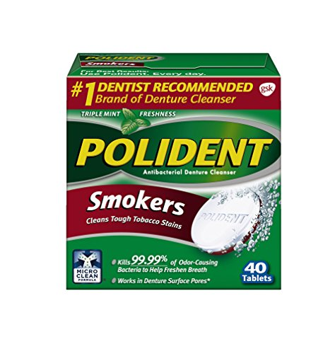 Polident Smokers Antibacterial Denture Cleanser Effervescent Tablets, 40 count (Polident Denture Cleaner 40)