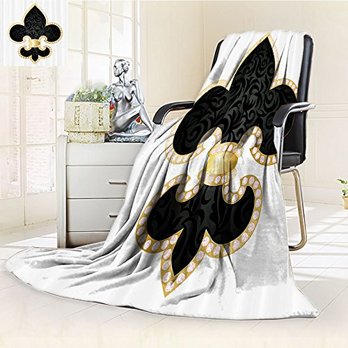 Fleur De Lis Custom Blanket By Nalohomeqq Royal Legend Lily Throne Of France Empire Family Insignia Of Knights Image Accessories Extralong Black Gold White