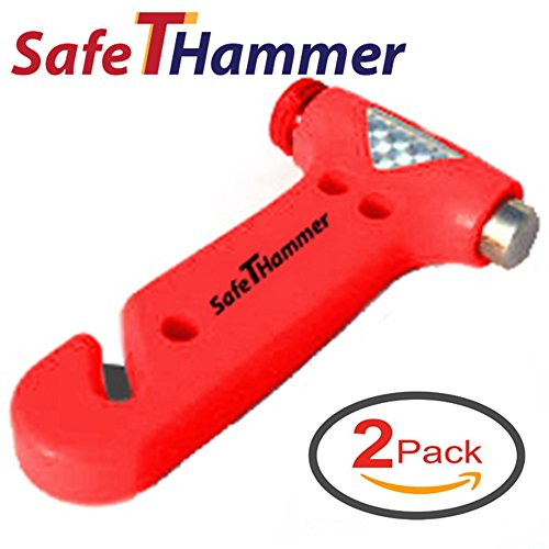 SafeTHammer FBA_SH0001 Seatbelt Cutter Window Breaker Car Safety Hammer (Pack of 2) A Lifesaving Glass Breaker Car Emergency Tool