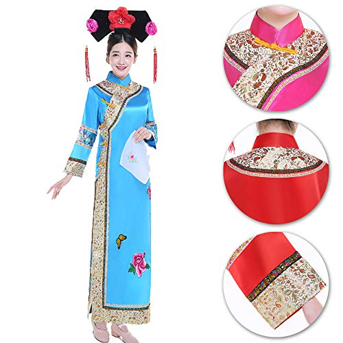 Halloween Vêtements Cosplay Ancien Princesse Rétro Bozevon Drame Robe Bleu ChinoiseFemme Traditionnel Style Élégant rsdthQ