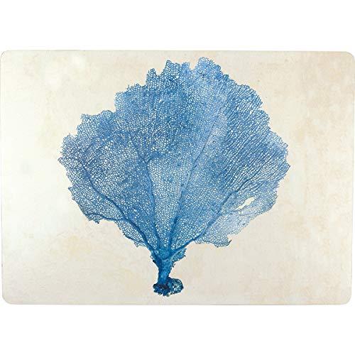 rockflowerpaper Blue Sea Fan Coral Decorative Cork Back Hard Placemat Set of 4 in Gift Box ()