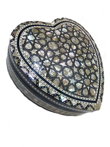 J32 Gorgeous Mother of Pearl Mosaic Trinket Egyptian Heart Gift Jewelry Box ()