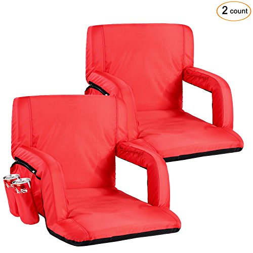 Portable Stadium Seat Chair, Sportneer Reclining Seat for Bleachers with Padded Cushion Shoulder Straps, Red, 2 (2 Seat Cushion)