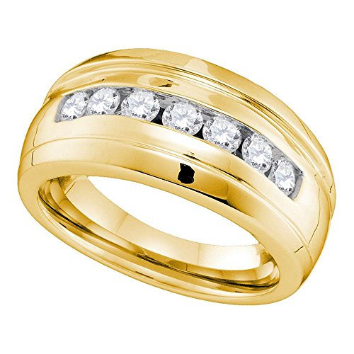 (10kt Yellow Gold Mens Round Channel-set Diamond Ridged Wedding Band Ring 3/4 Cttw)
