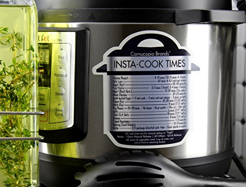 Instant Pot Cheat Sheet Magnets (3-Pack); Cooking Times for 16 Common Prep Functions by Cornucopia Brands (Image #1)