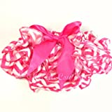 Chevron Satin Baby Bloomers Diaper Cover Ruffle Back - Hot Pink