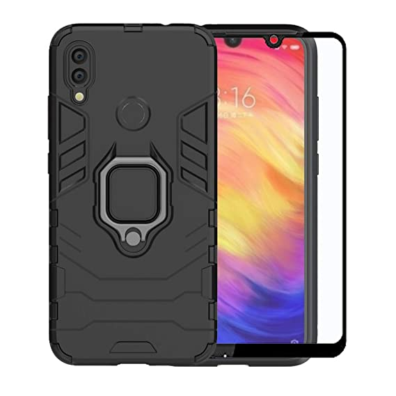 Strug For Xiaomi Redmi Note 7 Case Tempered Glass Screen Protector Hybrid Heavy Duty Protection Shockproof Kickstand Armor Case Cover For Xiaomi