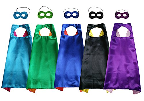 Baby Song 5 Different Double Sides Superheros Capes and Mask for Kids, Dress Up & Pretend Play Superhero Cape Costumes 5 PCS (Song Halloween 3)