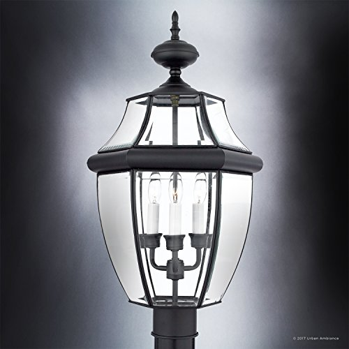 Luxury Colonial Outdoor Post Light, Large Size: 23''H x 12.5''W, with Tudor Style Elements, Versatile Design, High-End Black Silk Finish and Beveled Glass, UQL1150 by Urban Ambiance by Urban Ambiance (Image #2)
