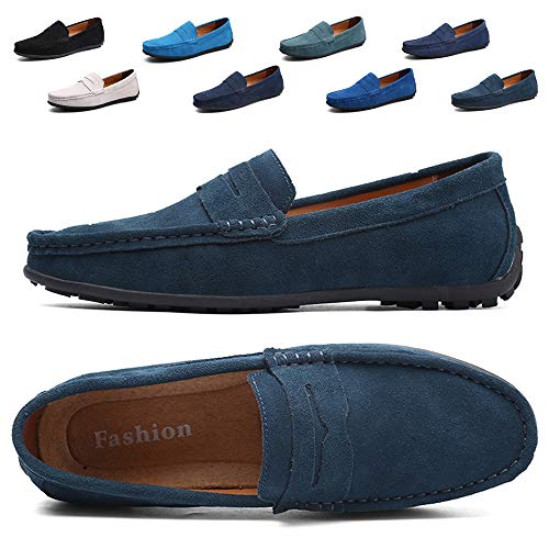TSIODFO Dress Loafers for Men Slip On Sneakers Green Suede Cow Leather Breathable Comfort Flats Driving Loafers Size 6 (A101Dark green38)