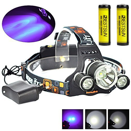 - BESTSUN Tactical Blacklight Headlamp UV-Ultraviolet LED (1x Cree T6 White LED and 2 x UV LEDs) 4 Modes 395-410nm 18650 Rechargeable Leak detector and Cat-Dog-Pet Urine Detector (with Chager & Battery)