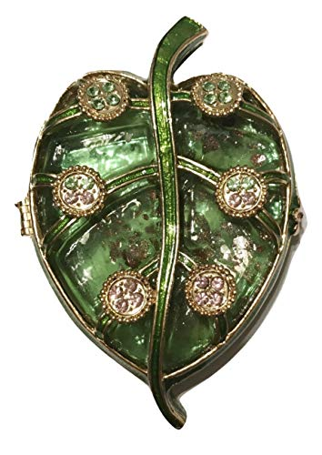 (Versailles Green Leaf Flat Small Trinket Box with Crystals)