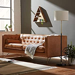 Rivet Brooke Mid-Century Modern Tufted Leather Sofa Couch 5
