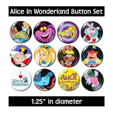 ALICE IN WONDERLAND BUTTONS pins badges 1951 cartoon cheshire mad hatter queen (Disney Pin Queen)
