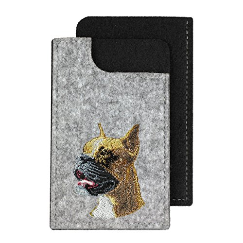 Boxer, A felt phone case with an embroidered image of a dog