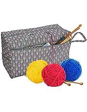 "Yarn Storage Bag,Yarn Tote Bag 11.8"" Needle Knitting Carrying Yarn Skeins Bag Crochet Hooks Project Yarn Storage Organizer Wool Ball Holder Tool Case Basket Portable Sewing Accessories Handicraft"