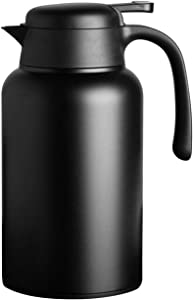 Luvan 68 oz 304 18/10 Food-grade Stainless Steel Thermal Carafe/Double Walled Vacuum Insulated Coffee Pot with Press Button Top,24+ Hrs Heat&Cold Retention,BPA Free,for Coffee,Tea,Beverage etc (Black)