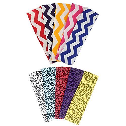 Yeshan Set of 10pcs Non slip Cotton Elastic Sports Headband/Head wrap/Yoga Headband/Hairband,Leopard print and Zebra Stripe colors