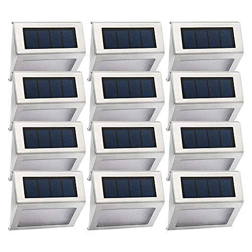 [12 Pack] Solar Step Lights with Larger Solar Panel Easternstar 4 LED Deck Lights Weatherproof Outdoor Lighting for Wall Stair Path Patio Fence [並行輸入品] B07R4J3TVZ