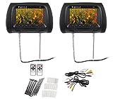 "Pair Rockville RHP7-BK 7"" Black TFT-LCD Car Headrest TV Monitors w/ Speakers+IR"
