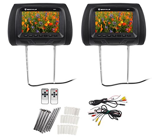 "Wide Lcd Black Speakers - Pair Rockville RHP7-BK 7"" Black TFT-LCD Car Headrest TV Monitors w/ Speakers+IR"