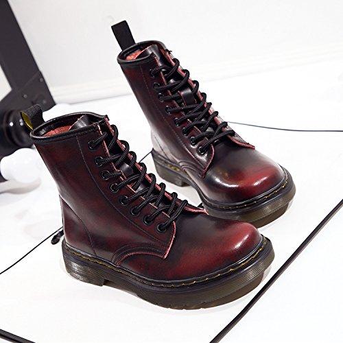 Damen Martin Stiefel Derby Wasserdicht Kurz Stiefeletten Winter Herren Worker Boots Profilsohle Schnürschuhe Schlupfstiefel,Ungefüttert/Braun 43 EU
