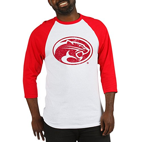 CafePress Houston Cougars Distressed Baseball Jersey Cotton Baseball Jersey, 3/4 Raglan Sleeve Shirt Red/White ()