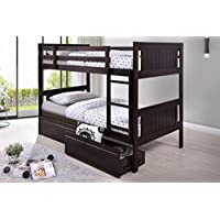 Best Quality Furniture BU914 Traditional Childrens Bunk Bed, Twin over Twin, Cappuccino