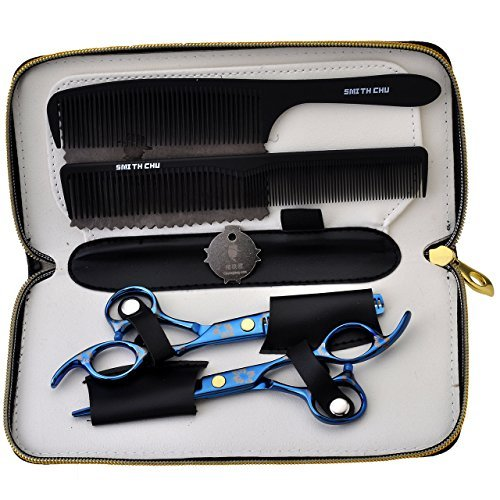 - CCbeauty Barber Supplies Equipment 1Set Professional Barber Hair Cutting Scissors Shears Thinning/Texturising Kit with a Black Case,#3 Blue scissors