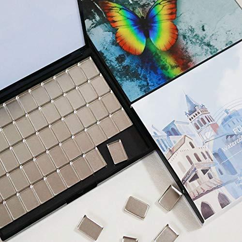 Portable Plastic Paint Palette with 55pcs Rectangle Metal Pans and 1 Big Mixing Area FCLUB Empty Magnetic Watercolor Palette Folding Paint Case