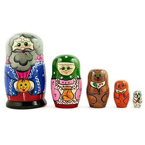 BestPysanky Set of 5 Kolobok, Babushka and Dedushka Fairy Tale Russian Nesting Dolls 7 Inches