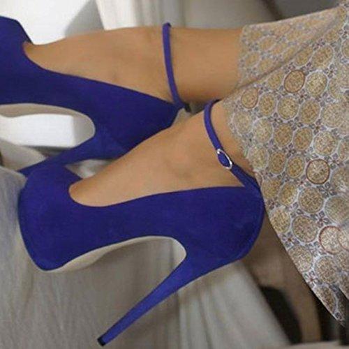 11 Toe Prom 34 High 5 Sandals Round Heels Size Ankle 14 Pumps Elegant VIVIOO Cm Strap Shoes 45 Blue BUFWSgSq
