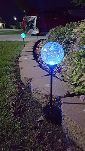 Solar Gazing Ball Led Lights On Tall Stakes Outdoor