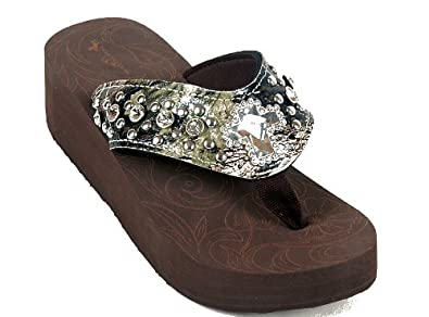29f11f6c7e255 Montana West Rhinestone Bling Flip Flop Sandals Womens Wedge - Camo Cross  (9)