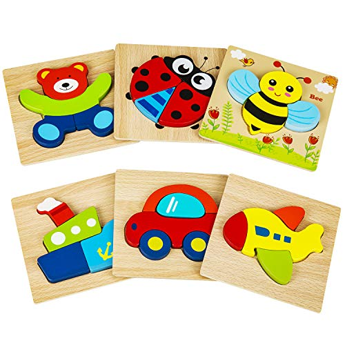 Cyiecw Wooden Jigsaw Puzzles, Wooden Shapes Puzzles for Toddlers 1 2 3 Years Old, Educational Toys Gift with 3 Animals, 3 Vehicles for Boys Girls(6 Pack) (Best Wooden Jigsaw Puzzles)