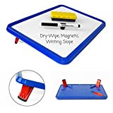 Wedge Whiteboards - A4 Dry-Wipe, Magnetic White/ Lap Board with Legs - Set Includes 4 Pens and Board Rubber (Blue)