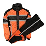 Nex Gen Mens Orange/Blk/Grey Motorcycle Rain Suit Water Resistant SH233102 (2XL)