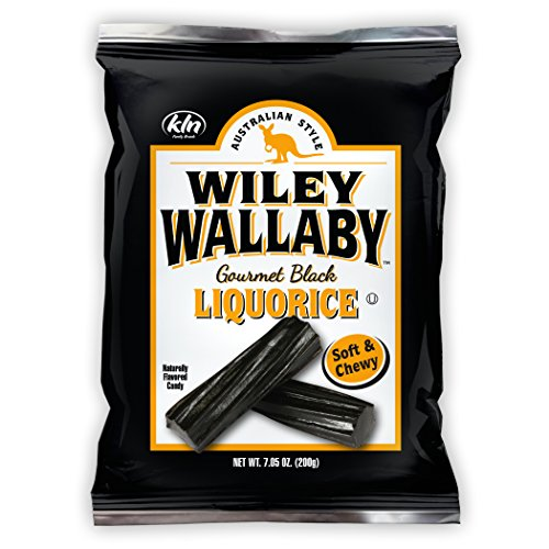 Calories Licorice Black (Wiley Wallaby Australian Style Gourmet Licorice, Soft and Chewy Candy, Fat Free, Low Calorie, Low Sugar, Kosher, Vegan, 7.05 oz Bags, 12 Count (Black Licorice))
