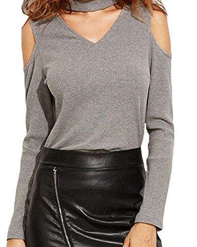 Mujeres Color Sólido Manga Larga Sin Tirantes V-Cuello Camisa Blusa Tapas Gris